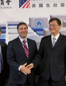 At the Diigital Economy Forum, left to right, American Institute in Taiwan director Kin Moy, U.S. delegation leader Vaughan Turekian, Taiwan delegation leader Duh Tyzz-jiun, and Vice Minister of the National Development Council Lin Huan. (Photo: CNA)