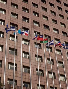 The flags of the Republic of China and its diplomatic allies flying outside the building in Tienmu that houses the International Cooperation and Development Fund and many embassies (Photo: Matthew Fulco)