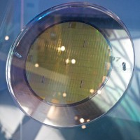 Progress: An 8-inch silicon wafer from 1993 on display at the ITRI Exhibition hall. (Photo: Matthew Fulco)