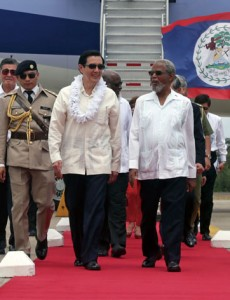 Final Diplomatic Trip - On arrival in Belize, President Ma is welcomed by Belizian President Colville Young. (Photo: CNA)
