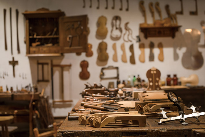 The Museum's Musical Instrument section includes a complete luthier's workshop. (Photo: Rich Matheson)