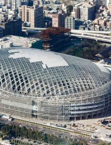 Taipei Dome under construction, aerial view. Source: Wikipedia