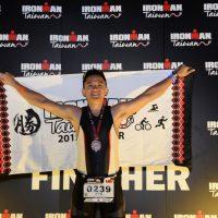 Lava Team triathlete Li Zong-yin celebrates completing the Ironman 2015 226km event last April