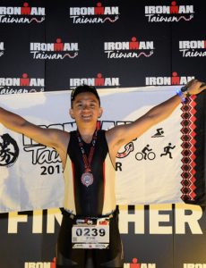 Lava Team triathlete Li Zong-yin celebrates completing the Ironman 2015 226km event last April