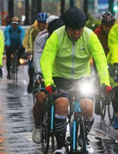 Taipei Mayor Ko Wen-je, an avid cyclist, completing the Lighthouse to Lighthouse 525km bike ride in 2015