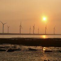 Wind farm in Gaomei Wetlands, Qingshui District, Taichung