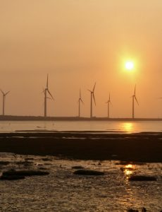 Wind farm in Gaomei Wetlands, Qingshui District, Taichung