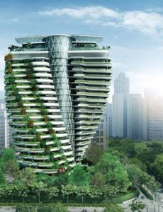 The Tao Zhu Yin Garden, designed by French architect Vincent Callebaut and currently under construction in Taipei's Xinyi district, has been liked to a double helix. (Photo: Bes Engineering)